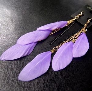 New! Stunning Lavender Feather Earrings
